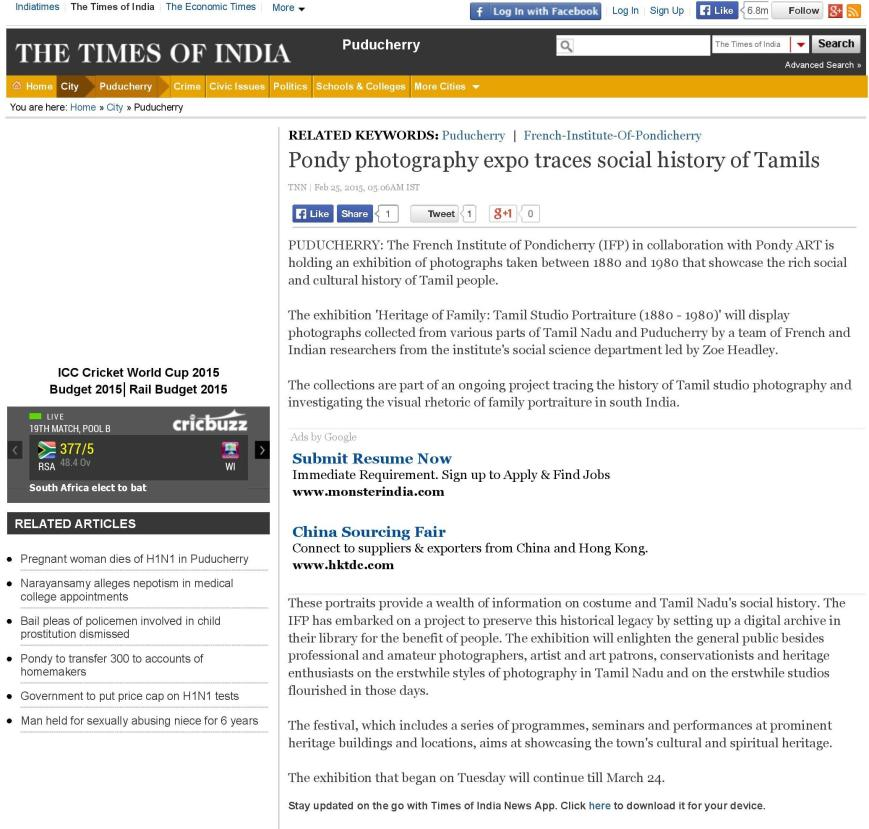 Pondy photography expo traces social history of Tamils - The Times of India-page-001